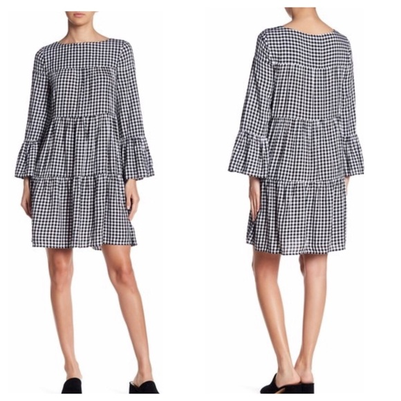 beachlunchlounge Dresses & Skirts - Beachlunchlounge-Gianna Gingham Bell Sleeve In SP